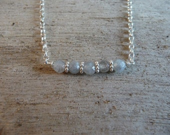 sterling silver facteted labradorite peppercorn semiprecious gemstone necklace