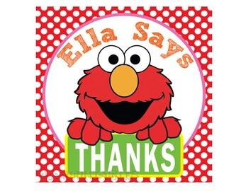 Elmo's Thank You Tags- Customized Digital File