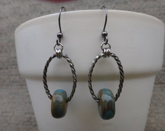 Viking Blue/Green Bead on Twisted Oval Ring - #152  v