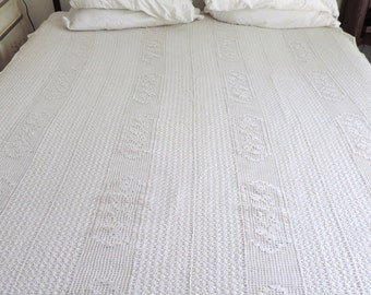 A vintage french, crochet lace bedspread, cover, coverlet, blanket, in ivory coloured cotton