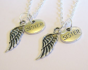 2 Sisters Angel Wings Necklaces BFF