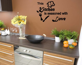 Wall Quotes This Kitchen is Seasoned with Love Vinyl Wall Decal Quote Removable Wall Sticker Home Decor (M25)
