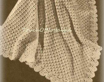 Crochet Patterns Christening Shawls : Lacy openwork Etsy