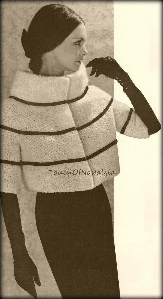 Knitting Pattern Evening Jacket : PARISIAN EVENING JACKET Knitting Pattern Vintage - Fashion Statement - Glamor...