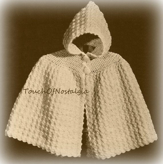 Crochet Patterns Capes : Crochet Baby HOODED CAPE Crochet Pattern Vintage - Cuddly Hooded ...