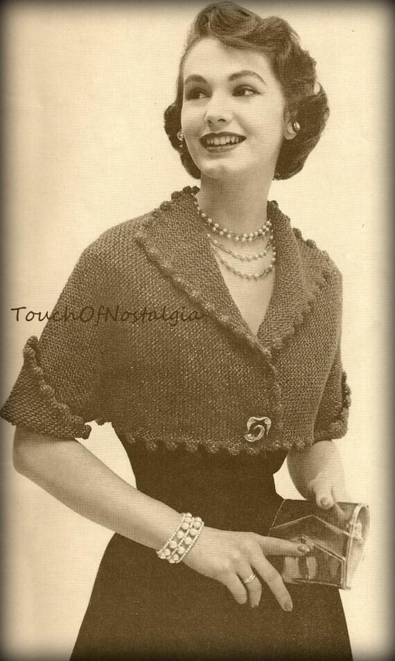 Knitting Pattern Evening Jacket : Items similar to EVENING JACKET Vintage Knitting Pattern - ELEGANT Cropped Ja...