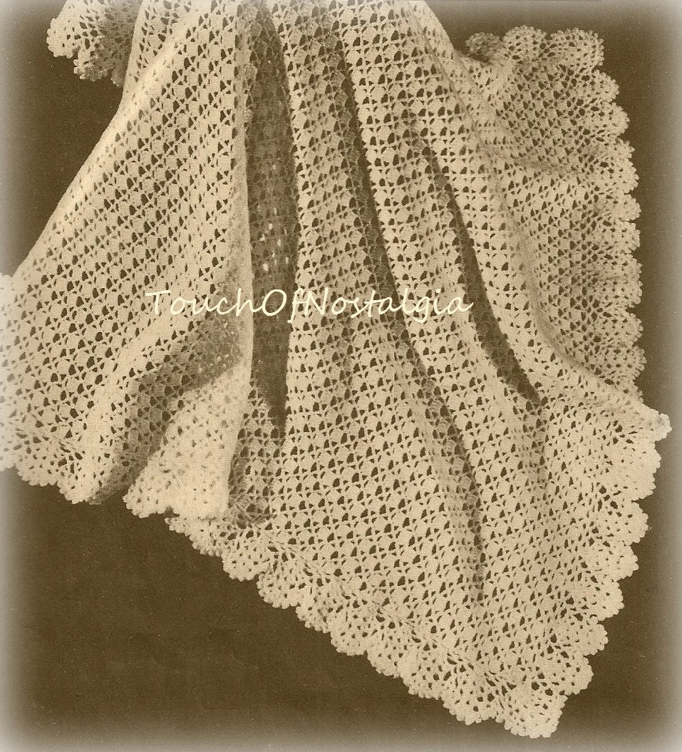 Crochet Shawl Patterns For Babies : Crochet LACY Baby SHAWL Crochet Pattern Pretty LACE Baby