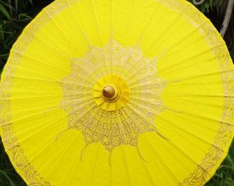 Hand Painted Yellow Parasol, Yellow Umbrella, Parasol, Umbrella, Parasols, Umbrellas, Wedding Parasol, Waterproof Parasol, Parasol Umbrella