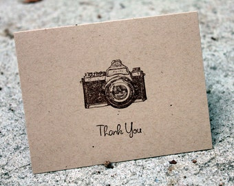 Thank You Notes set of 5, Kraft thank you notes, Camera thank you cards, Camera stationary, Kraft cards, blank cards, Vintage Camera cards