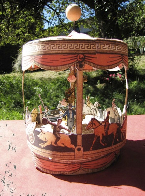 French Miniature Paper toy merry go round. Miniature circus- digital download, fair