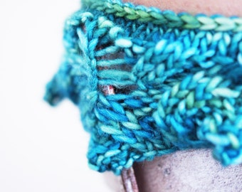 Boot Cuffs . Short Leg Warmers . Boot Toppers . Hand Knitted . Bright Green . Turquoise . Variegated