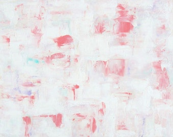 Large White Abstract Painting Pink and White Wall Decor 24x30 Home Decor by Nacene Prchal