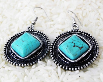 Statement Ethnic Turquoise Earrings Tibetan jewelry bohemian collection