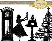 Silhouette The Nutcracker Clipart - Christmas Clip art for scrapbooking, party invitations, Instant Download Commercial Use