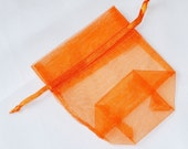 """3"""" x 4"""" Orange Gusseted Small Organza Drawstring Favor Bags Satchet Jewelry Pouch Wedding Baby Shower CD501"""