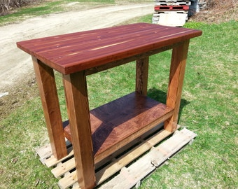 Kitchen Island, FREE SHIPPING, Mahogany Butcher Block Top, Rustic, Country, Distressed
