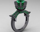 Modern Vintage 14K Gray Gold 3.0 Carat Emerald Solitaire Engagement Ring R253-14KGGEM