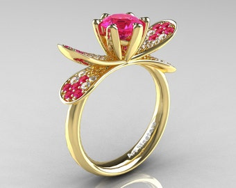 14K Yellow Gold 1.0 Ct Pink Sapphire Diamond Nature Inspired Engagement Ring Wedding Ring R671-14KYGDPS