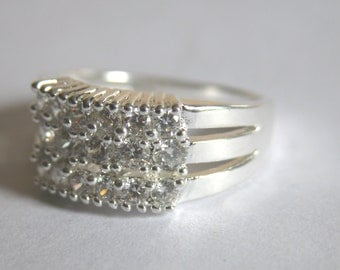 Silver and Zircon Ring