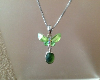 "VIntage Sterling Silver 18"" Chain with Green Butterfly"