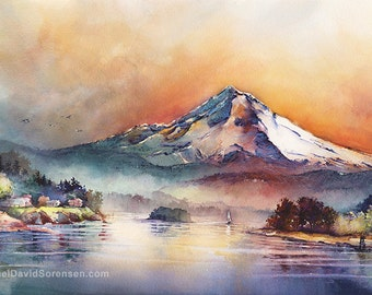 Mount Hood Through Stained Glass - by Michael David Sorensen. Oregon Watercolor Painting. Mt. Hood. Pacific Northwest Landscape. Mountain.