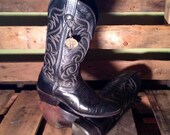 25% OFF // Men's 8 Women's 10 Western Black Leather Cowboy Boots Vintage J Chisholm Made in the USA