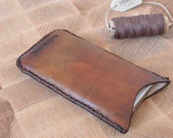Cellphone case, Personalized iphone sleeve, leather dleeve, anique color