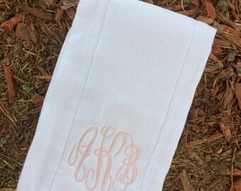 White Monogrammed Burp Cloths