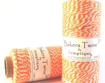 Bakers Twine, Orange, 100% Cotton, 410 Feet, 1mm, Cotton Bakers Twine, Packaging String