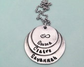 Three Layered Circled Necklace | Personalized Jewelry | Hand Stamped Jewelry | Custom Jewelry |  Christmas Gifts | Handstamped Necklace