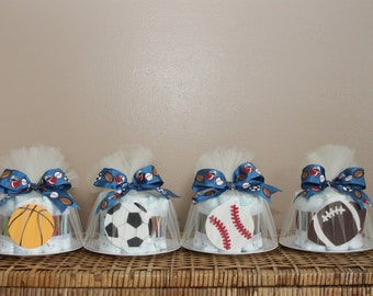 Small diaper cakes for baby shower, sports or any theme