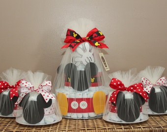 Mickey Mouse-inspired diaper cake combination (One 3-tiered diaper cake, six small diaper cakes)