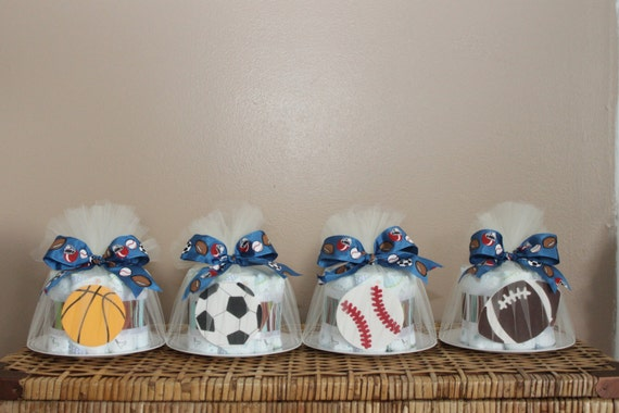 Small diaper cakes for baby shower sports or any theme