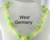 West Germany vintage Green Yellow Lucite art beaded strand necklace signed
