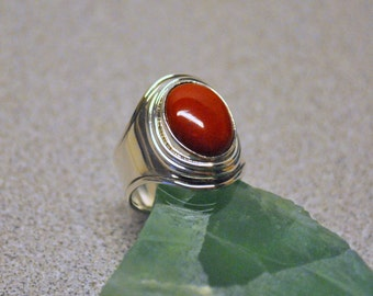 sterling silver & red coral ring