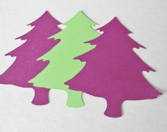 Christmas Decorations, Paper Christmas Tree Tags, Large Holiday Tree Die Cuts, Purple Green 4 inch Cutouts Holiday Decorations Set of 25