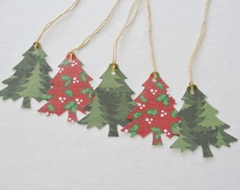 Christmas Cutouts, Christmas Tree Gift Tags, Holiday  Die Cuts, Gift Tags Gold String, Red Green Printed Set of Paper Tree Tags, Set of 12