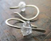 Imagine . Herkimer Diamond earrings .  Sterling Silver earrings . Metalwork earrings . Herkimer jewelry . Minimalist jewelry . Boho . Modern