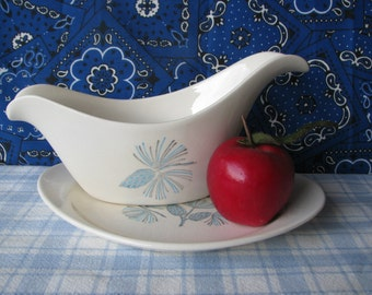 Gravy Boat With Serving Plate -  Marcrest Blue Spruce - Mid Century - Vintage 1960's