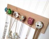 Green and Teal Jewelry Organizer / Wall Hooks / Six Knobs on Cedar #614