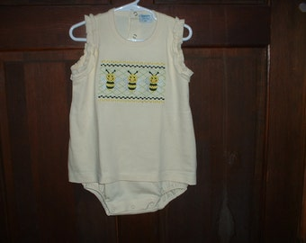 Yellow 3T Embroidered Skirted Bubble