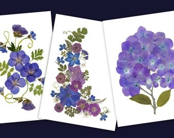 Pressed Flower Cards - Set of 6 Notecards - Blank Stationery - #038