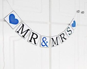 FREE SHIPPING, Mr & Mrs banner, Wedding Banner, Bachelorette party decor, Engagement decoration, Reception sign decor, Photo prop, Navy blue