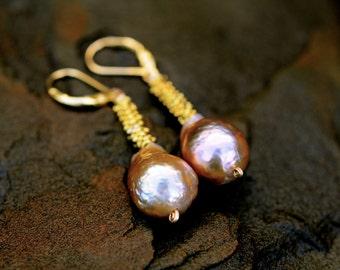 golden baroque pearl earrings, freshwater pearl earrings, luxurious golden pearl dangle earrings