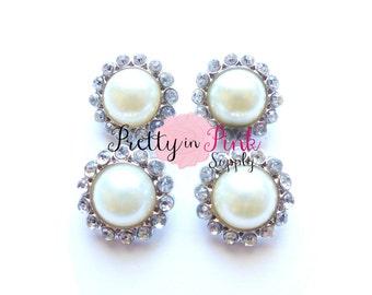 IVORY Rhinestone Pearl Button- Pearl Center Button- Button- DIY Craft Supply- Baby Headband Supplies- DIY Headband- Embellishment