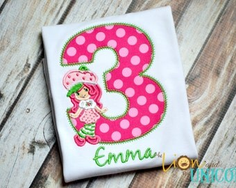 Strawberry Shortcake Birthday Shirt - number can be changed - bright pink