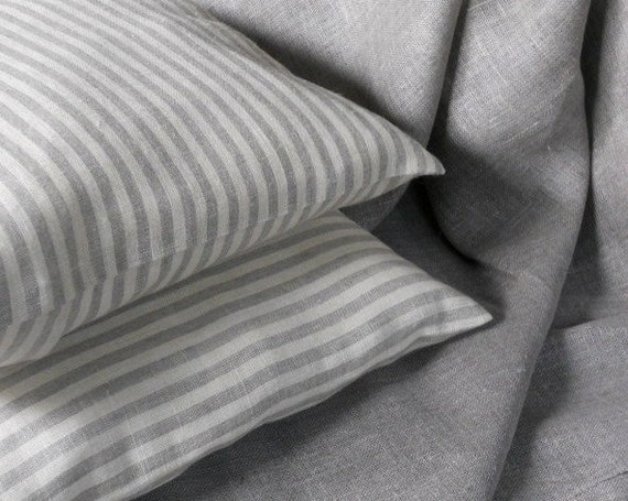 Striped natural linen pillow case ticking gray ivory throw cushion cover set of 2 pillow shams