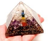 New Year Sale! Save ten dollars! ORGONE POWERHOUSE Chakra Pyramid W/ Double Terminated Chakra Point 69.85mm