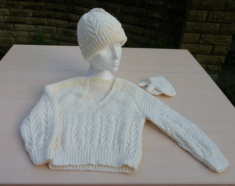 Hand knitted children's aran jumper hat and mittens set - children's clothing - knitwear - winter clothes - woolly hat