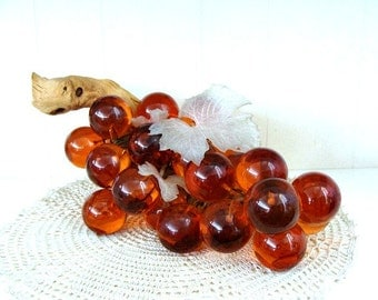 Vintage Lucite Amber Grape Cluster Table Top Decor